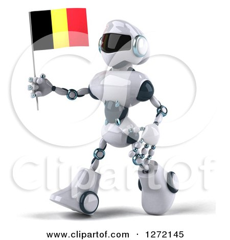 Clipart of a 3d White and Blue Robot Walking to the Left with a Belgium Flag - Royalty Free Illustration by Julos