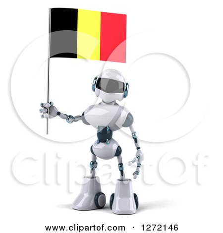 Clipart of a 3d White and Blue Robot Standing with a Belgium Flag - Royalty Free Illustration by Julos
