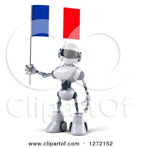 Clipart of a 3d White and Blue Robot Holding a French Flag - Royalty Free Illustration by Julos