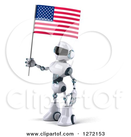 Clipart of a 3d White and Blue Robot Facing Left and Holding an American Flag - Royalty Free Illustration by Julos