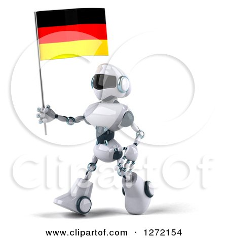 Clipart of a 3d White and Blue Robot Walking to the Left and Holding a German Flag - Royalty Free Illustration by Julos