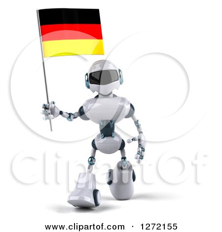 Clipart of a 3d White and Blue Robot Walking and Holding a German Flag - Royalty Free Illustration by Julos