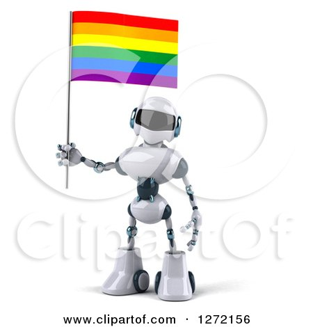 Clipart of a 3d White and Blue Robot with a Rainbow LGBT Flag - Royalty Free Illustration by Julos