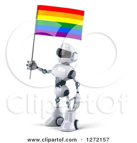 Clipart of a 3d White and Blue Robot Facing Left with a Rainbow LGBT Flag - Royalty Free Illustration by Julos