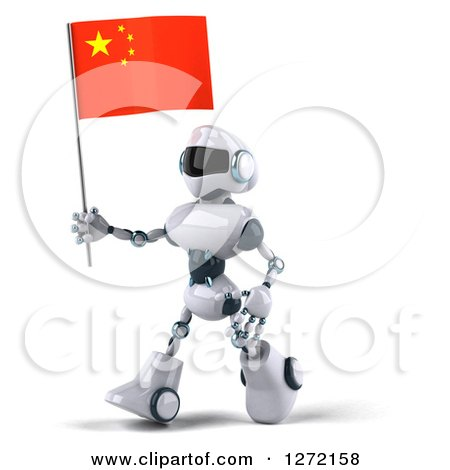 Clipart of a 3d White and Blue Robot Walking to the Left and Holding a Chinese Flag - Royalty Free Illustration by Julos