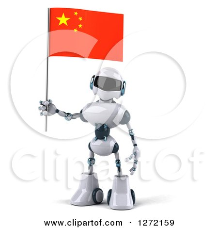 Clipart of a 3d White and Blue Robot Holding a Chinese Flag - Royalty Free Illustration by Julos