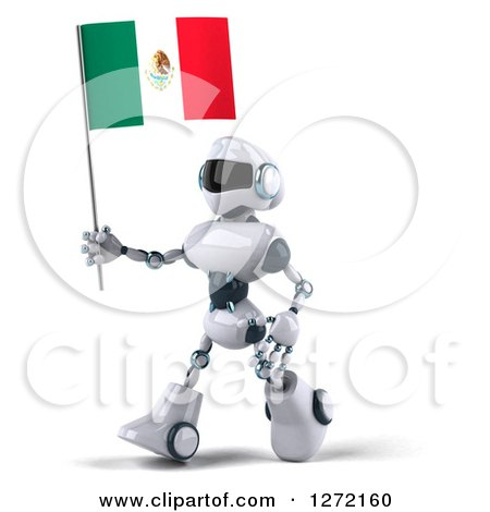 Clipart of a 3d White and Blue Robot Walking to the Left and Holding a Mexican Flag - Royalty Free Illustration by Julos