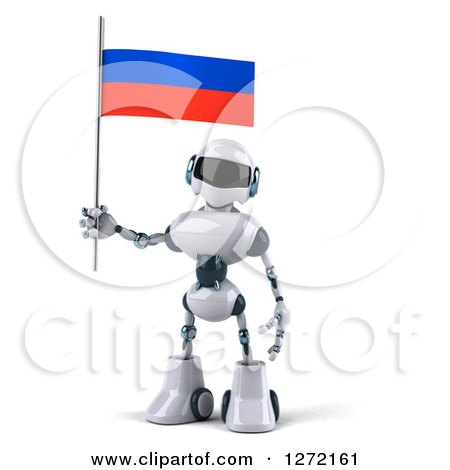 Clipart of a 3d White and Blue Robot Holding a Russian Flag - Royalty Free Illustration by Julos
