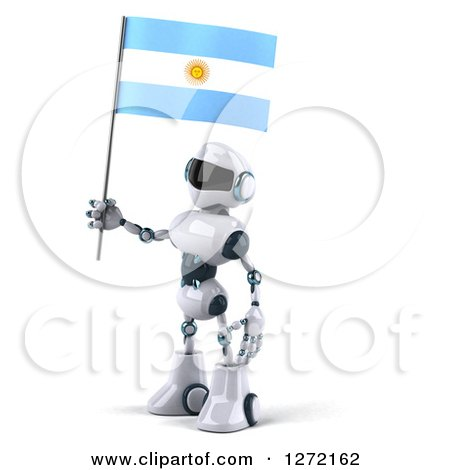 Clipart of a 3d White and Blue Robot Facing Left and Holding an Argentine Flag - Royalty Free Illustration by Julos