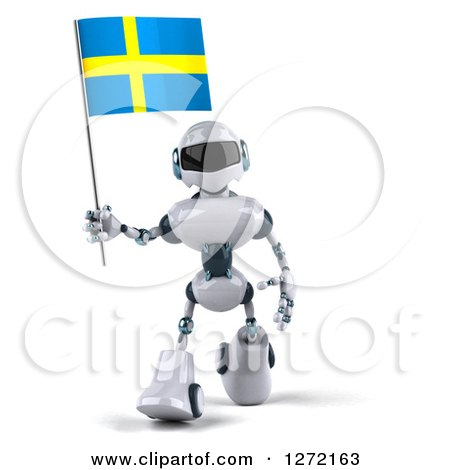 Clipart of a 3d White and Blue Robot Walking and Holding a Swedish Flag - Royalty Free Illustration by Julos