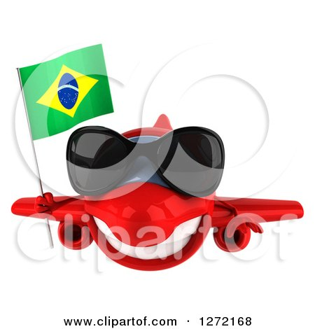 Clipart of a 3d Happy Red Airplane Wearing Sunglasses and Flying with a Brazilian Flag - Royalty Free Illustration by Julos