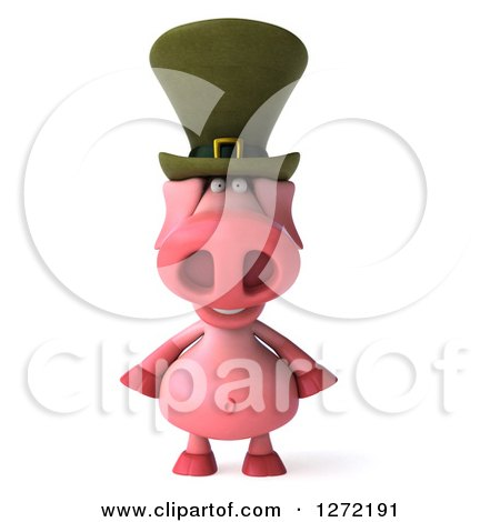 Clipart of a 3d Happy Irish Pig - Royalty Free Illustration by Julos