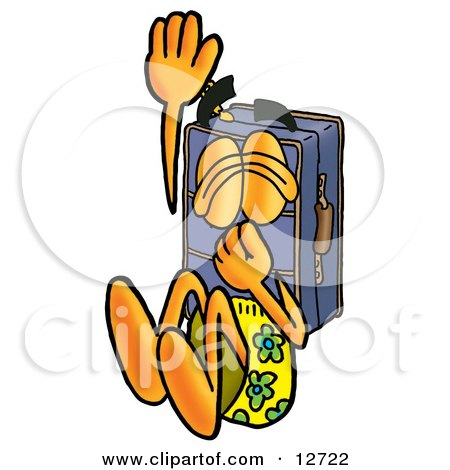 Clipart Picture of a Suitcase Cartoon Character Plugging His Nose While Jumping Into Water by Toons4Biz