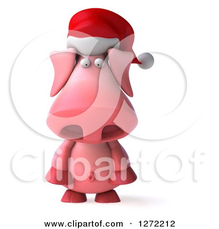 Clipart of a 3d Sad Christmas Pig Wearing a Santa Hat and Pouting - Royalty Free Illustration by Julos