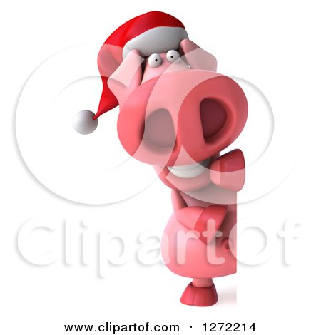 Clipart of a 3d Full Length Happy Christmas Pig Smiling Around a Sign - Royalty Free Illustration by Julos