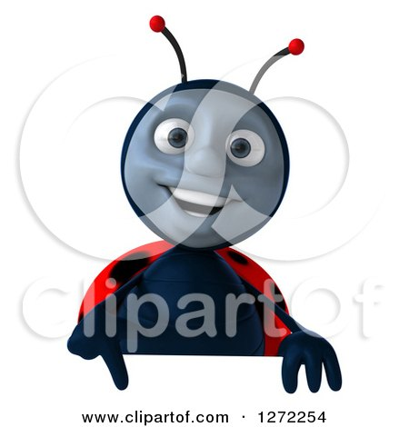 Clipart of a 3d Happy Ladybug Pointing down over a Sign - Royalty Free Illustration by Julos