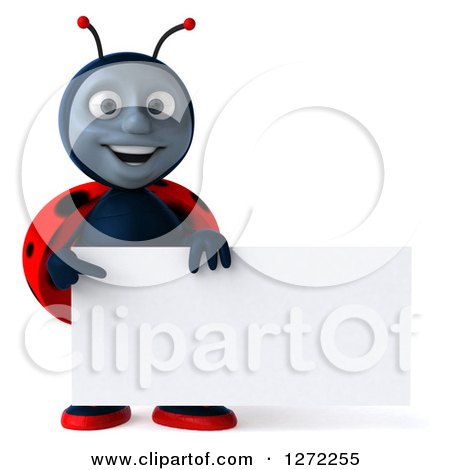 Clipart of a 3d Happy Ladybug Holding and Pointing to a Blank Sign - Royalty Free Illustration by Julos