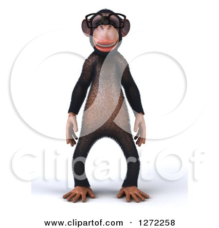 Clipart of a 3d Bespectacled Chimpanzee Facing Front - Royalty Free Illustration by Julos