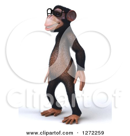 Clipart of a 3d Bespectacled Chimpanzee Facing Left - Royalty Free Illustration by Julos