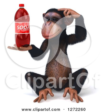 Clipart of a 3d Thinking Chimpanzee Sitting and Holding a Soda Bottle - Royalty Free Illustration by Julos