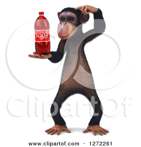 Clipart of a 3d Thinking Chimpanzee Holding a Soda Bottle - Royalty Free Illustration by Julos