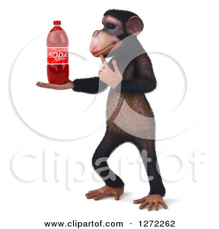 Clipart of a 3d Thinking Chimpanzee Facing Left and Holding a Soda Bottle - Royalty Free Illustration by Julos