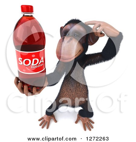 Clipart of a 3d Thinking Chimpanzee Holding up a Soda Bottle - Royalty Free Illustration by Julos