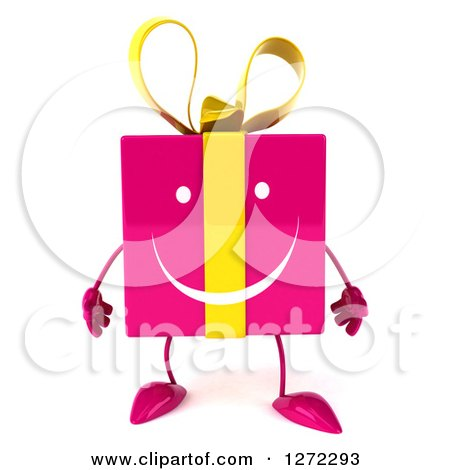 Clipart of a 3d Pink Gift Character - Royalty Free Illustration by Julos