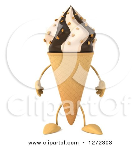 Clipart of a 3d Chocolate and Vanilla Swirl Waffle Ice Cream Cone Character - Royalty Free Illustration by Julos