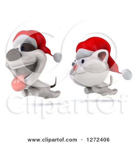 Clipart of a 3d White Christmas Cat Chasing a Jack Russell Terrier Dog - Royalty Free Illustration by Julos