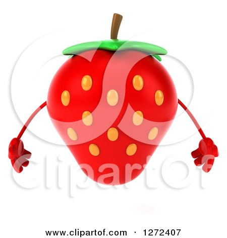 Clipart of a 3d Strawberry Character - Royalty Free Illustration by Julos