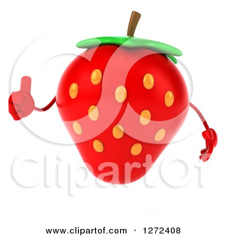 Clipart of a 3d Strawberry Character Giving a Thumb up - Royalty Free Illustration by Julos