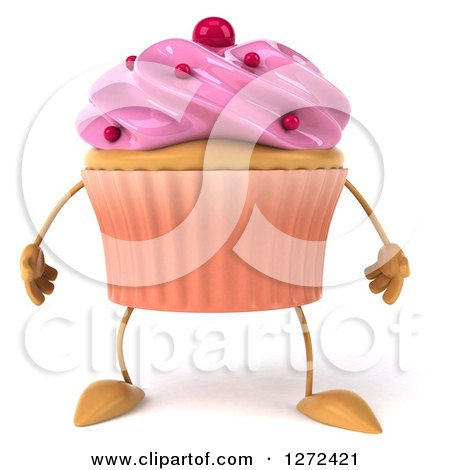Clipart of a 3d Pink Frosted Cupcake Character - Royalty Free Illustration by Julos