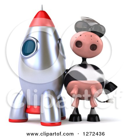 Clipart of a 3d Cow Wearing Sunglasses and Standing by a Rocket - Royalty Free Illustration by Julos