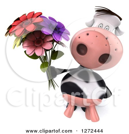 Clipart of a 3d Cow Holding up a Bouquet of Colorful Flowers - Royalty Free Illustration by Julos