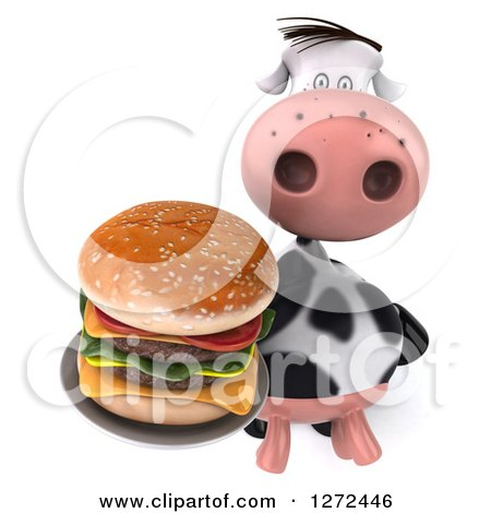 Clipart of a 3d Cow Holding up a Double Cheeseburger on a Plate - Royalty Free Illustration by Julos