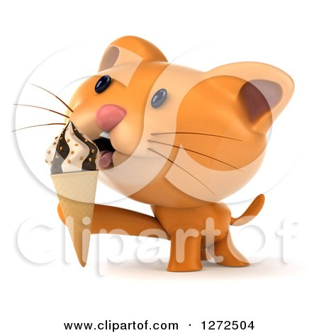 Clipart of a 3d Ginger Cat Licking an Ice Cream Cone - Royalty Free Illustration by Julos