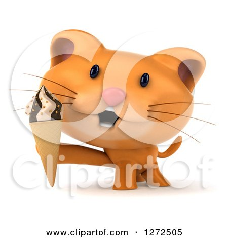 Clipart of a 3d Ginger Cat Holding an Ice Cream Cone - Royalty Free Illustration by Julos