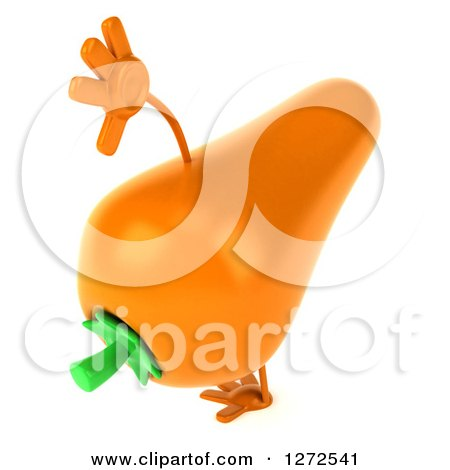 Clipart of a 3d Carrot Character Cartwheeling - Royalty Free Illustration by Julos
