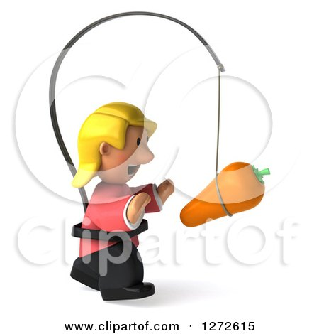 Clipart of a 3d Casual Blond White Woman Facing Right and Chasing a Carrot on a Stick - Royalty Free Illustration by Julos