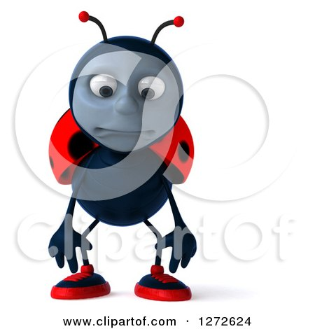 Clipart of a 3d Sad Pouting Ladybug - Royalty Free Illustration by Julos