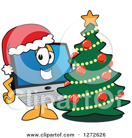 Clipart of a Happy PC Computer Mascot Wearing a Santa Hat by a Christmas Tree - Royalty Free Vector Illustration by Toons4Biz