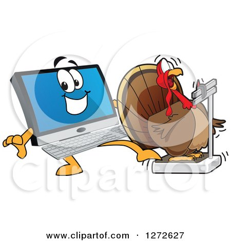 Clipart of a Happy PC Computer Mascot Behind a Shocked Thanksgiving Turkey Bird on a Weight Scale - Royalty Free Vector Illustration by Toons4Biz
