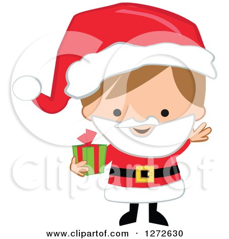 Clipart of a Caucasian Christmas Boy Wearing a Santa Suit and Holding a Gift - Royalty Free Vector Illustration by peachidesigns