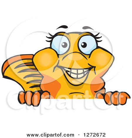 Clipart of a Happy Fancy Goldfish Peeking over a Sign - Royalty Free Vector Illustration by Dennis Holmes Designs