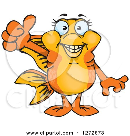 Clipart of a Happy Fancy Goldfish Giving a Thumb up - Royalty Free Vector Illustration by Dennis Holmes Designs