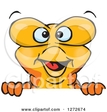 Clipart of a Happy Goldfish Peeking over a Sign - Royalty Free Vector Illustration by Dennis Holmes Designs