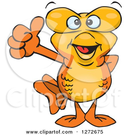 Clipart of a Happy Goldfish Giving a Thumb up - Royalty Free Vector Illustration by Dennis Holmes Designs
