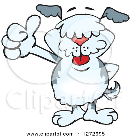 Clipart of a Happy Old English Sheepdog Giving a Thumb up - Royalty Free Vector Illustration by Dennis Holmes Designs