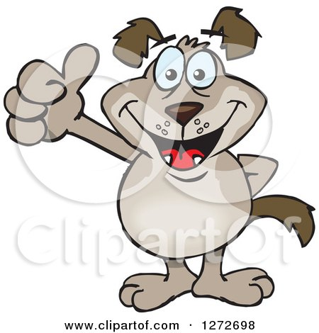 Clipart of a Happy Brown Dog Giving a Thumb up - Royalty Free Vector Illustration by Dennis Holmes Designs